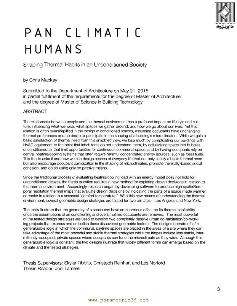 پایان نامه Pan Climatic Humans