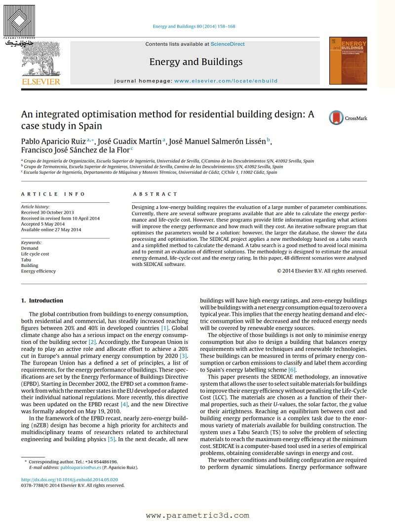 مقاله Integrated Optimisation Method for Residential Building