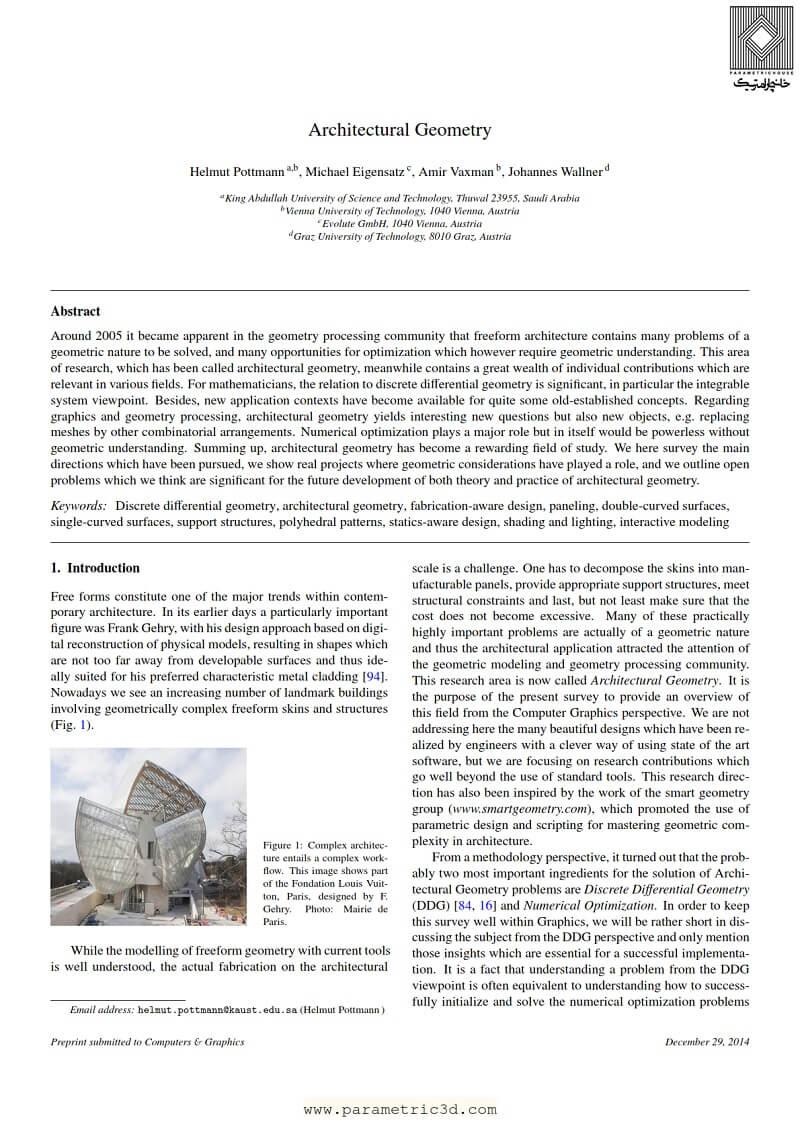 مقاله Architectural Geometry