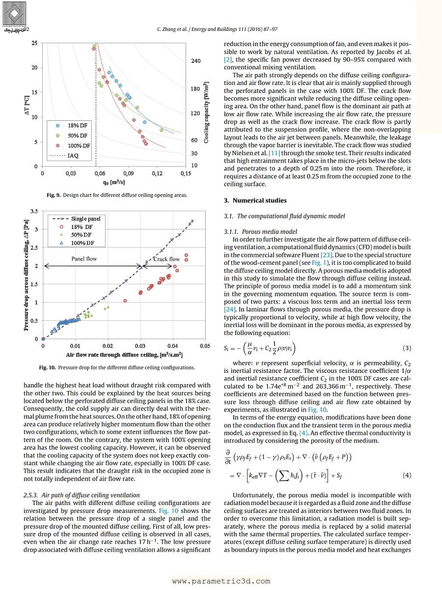 مقاله Parametrical Analysis on Diffuse Ceiling Ventilation