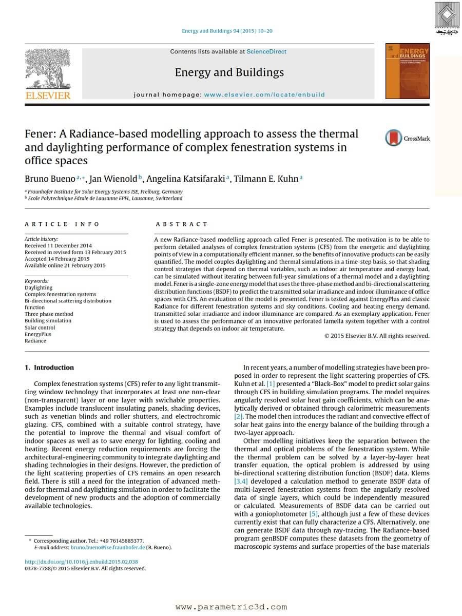 مقاله A Radiance Based Modelling Approach