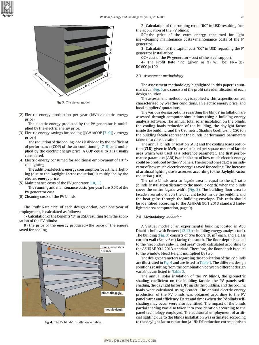 مقاله Assessment Methodology of Photovoltaic Blind System