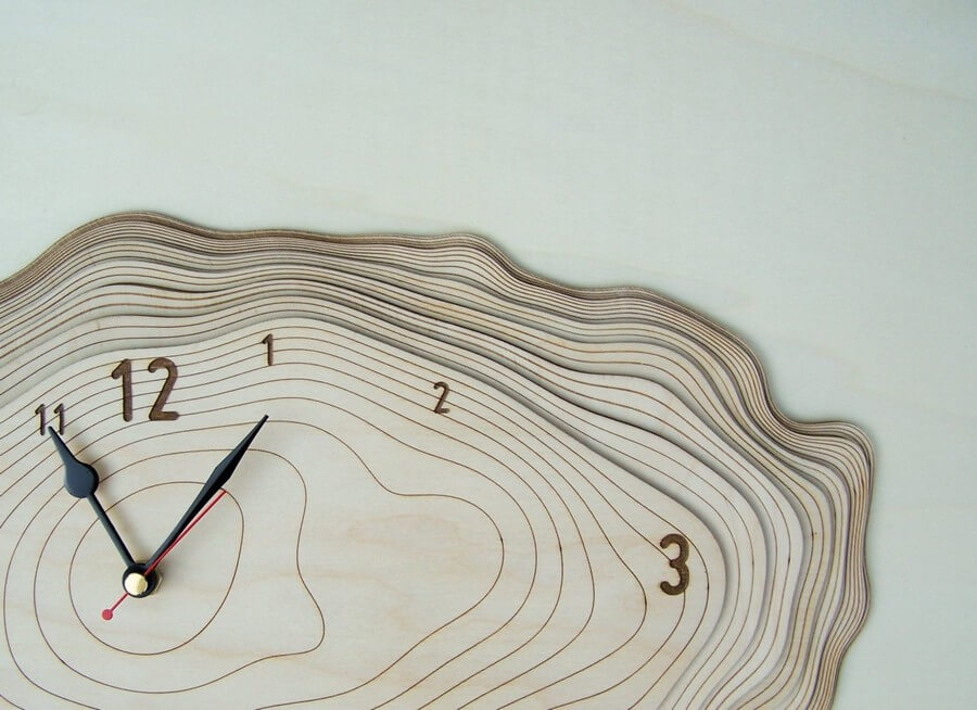 Wooden Wall Clock #4 - Laser Cutting Designs & Ideas