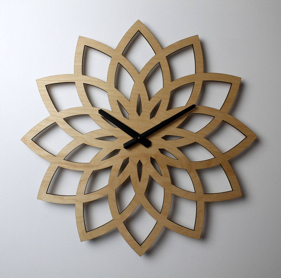 Wooden Clock #5 - Laser Cutting Designs & Ideas