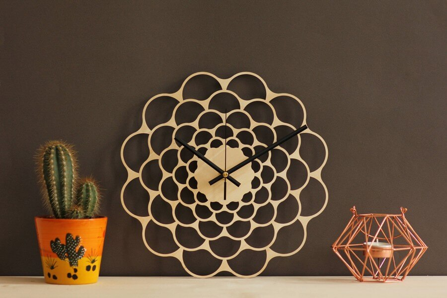 Wooden Wall Clock #2 - Laser Cutting Designs & Ideas