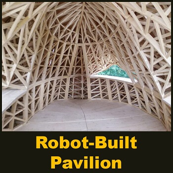 Robot-Built Pavilion Wooden Shingles and Latticed Framework