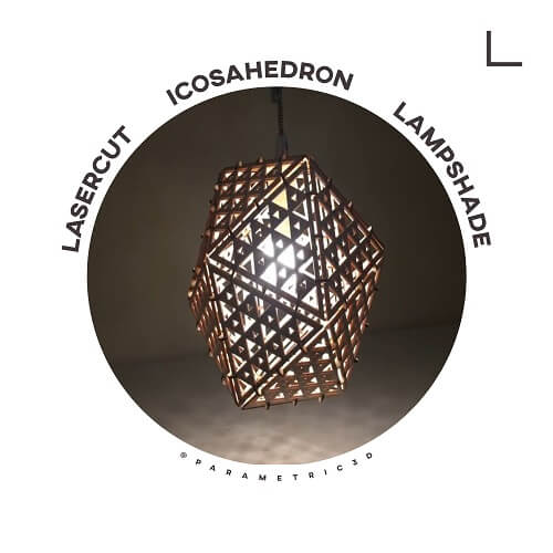 LaserCut Icosahedron Lampshade - Laser Cut Design